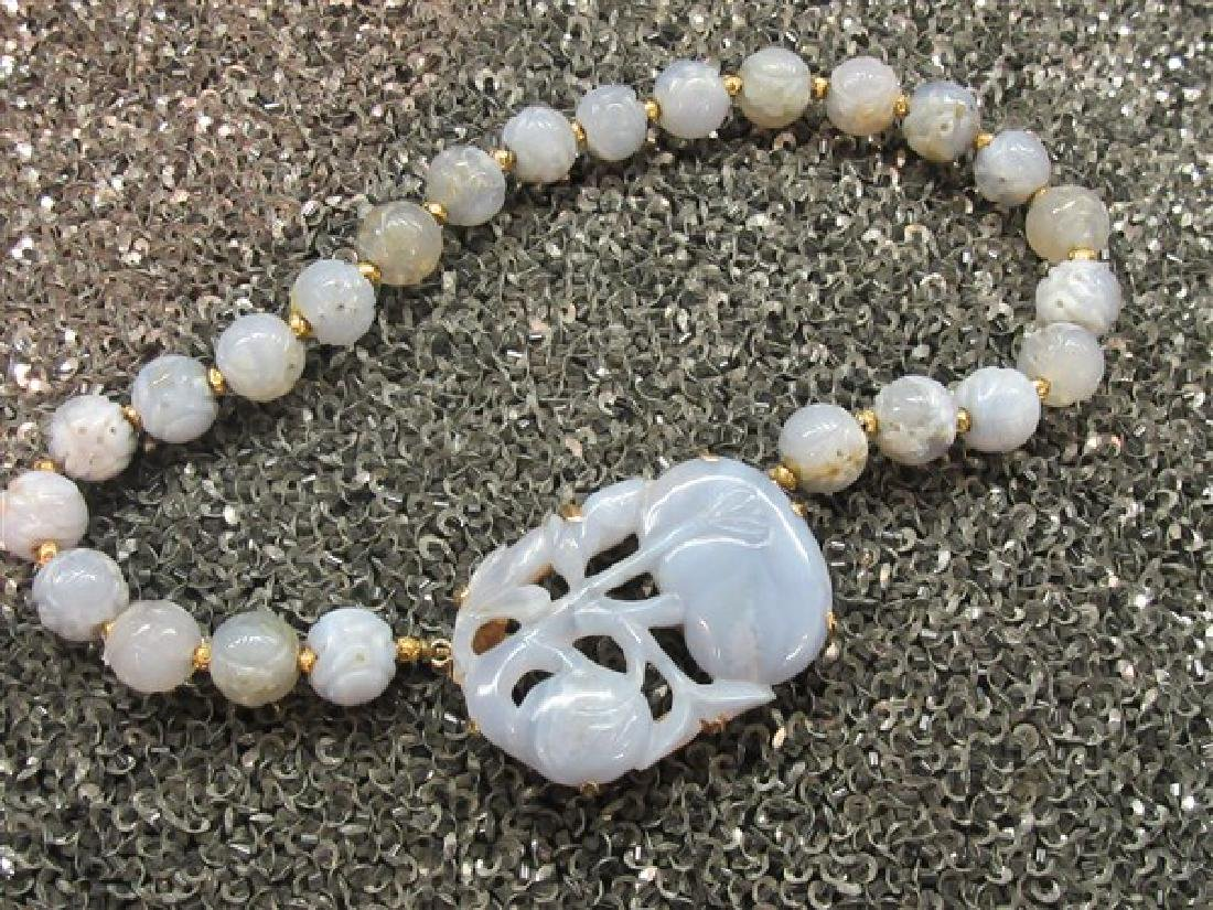 Chinese Carved Lavender Jadeite Necklace