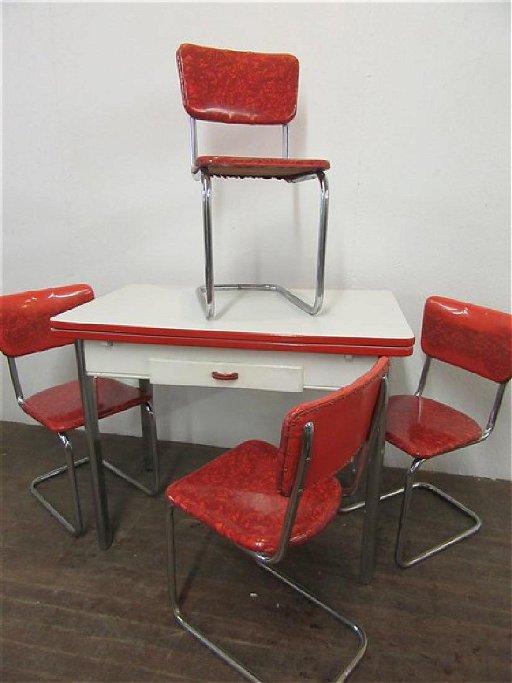 c.1930\'s Enamel Top Chrome Kitchen Table w/ 4 Chairs