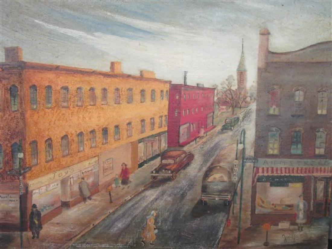 1950's New York City Street Block Oil Painting
