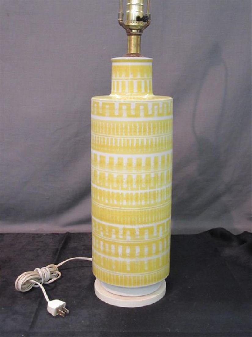 Mid Century Modern Yellow And White Ceramic Table Lamp