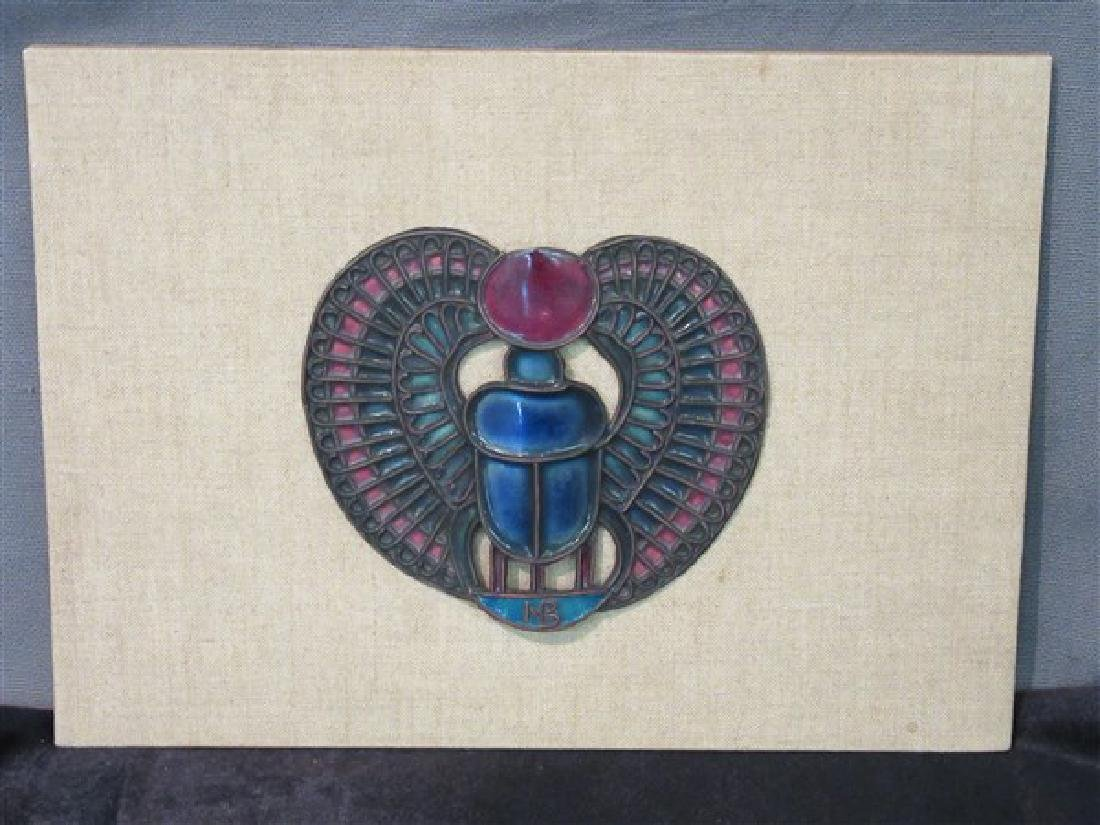 French Enameled Scarab Plaque