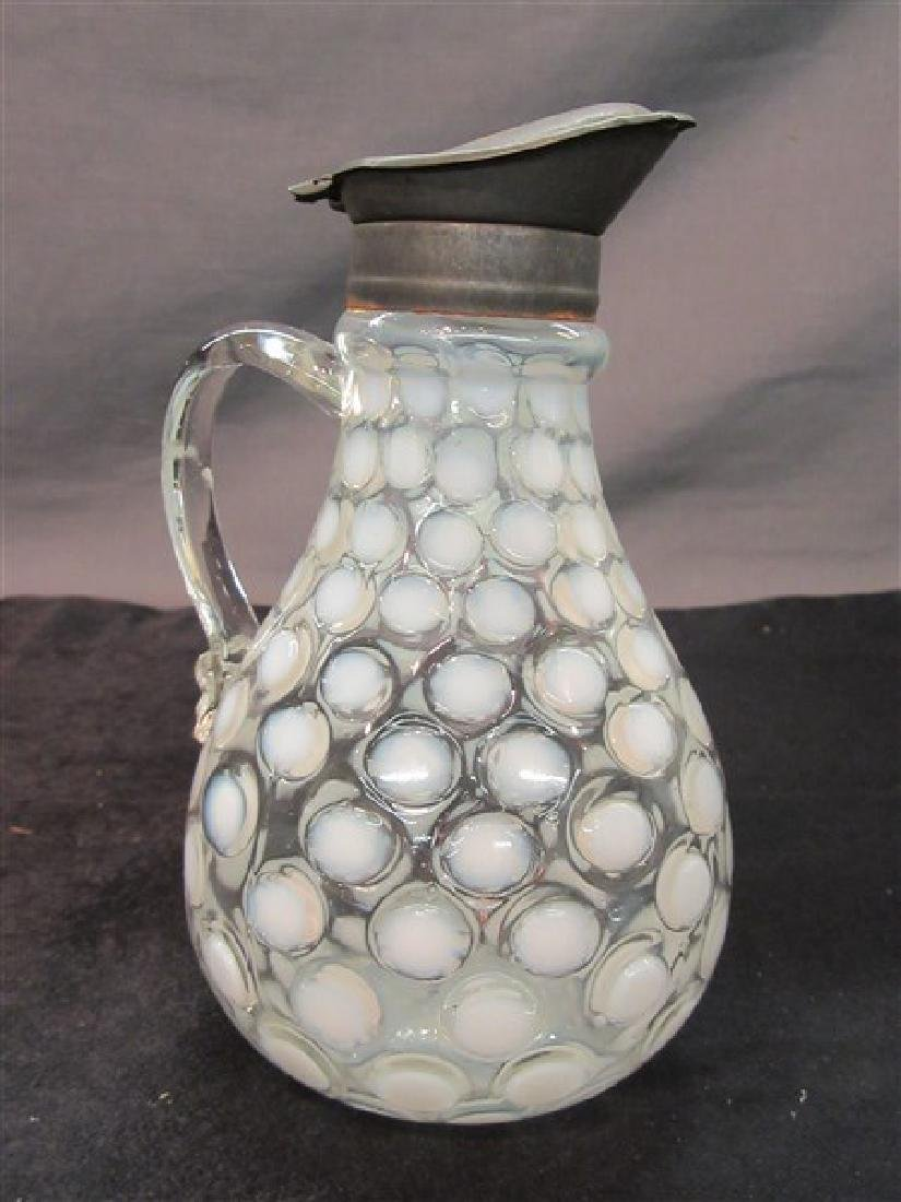 Antique Opalescent Coin Spot Glass Syrup Pitcher