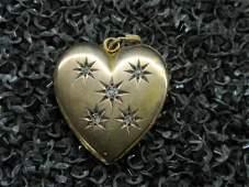 14k yg Heart Shaped Diamond Locket