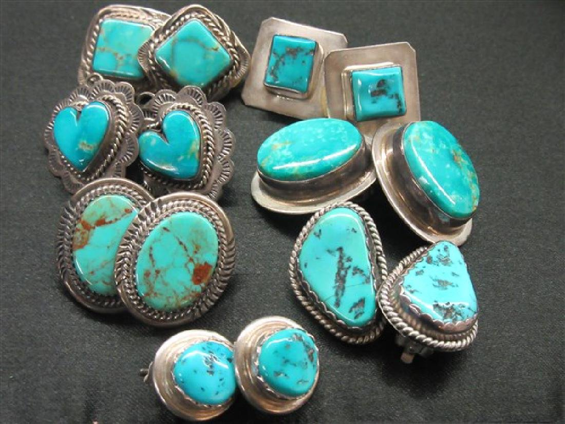 Seven (7) Pairs Indian Silver Turquoise Earrings