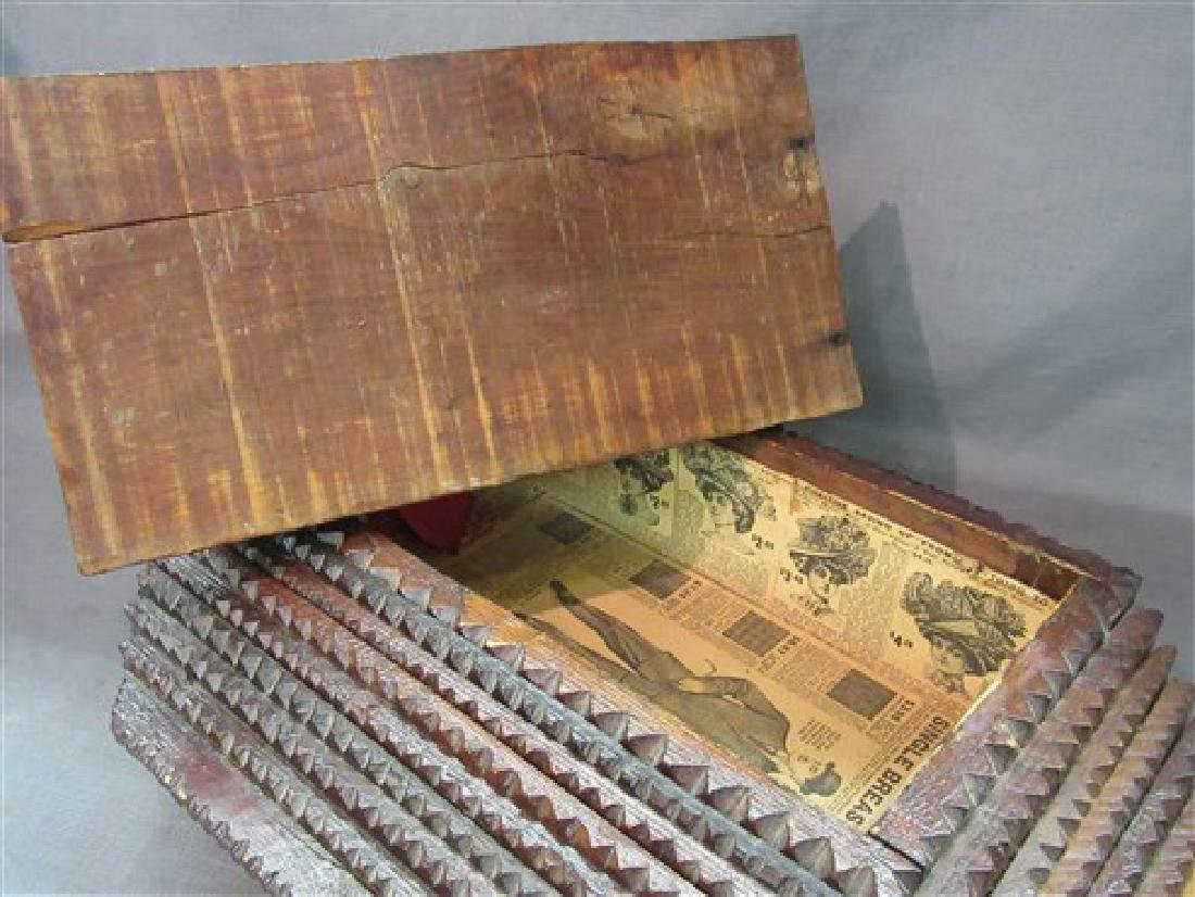Large Folk Art Tramp Art Box - 2