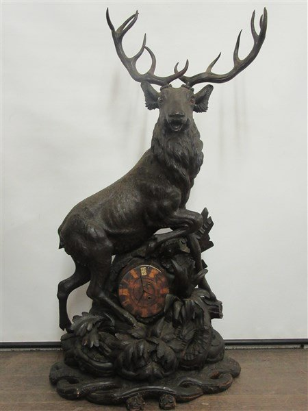 4ft Tall Antique Black Forest Carved Wood Clock