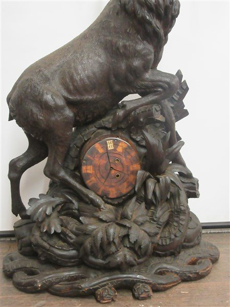 4ft Tall Antique Black Forest Carved Wood Clock - 2