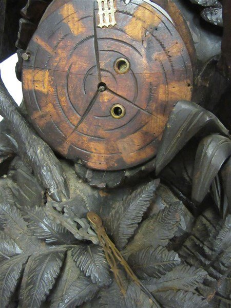 4ft Tall Antique Black Forest Carved Wood Clock - 5