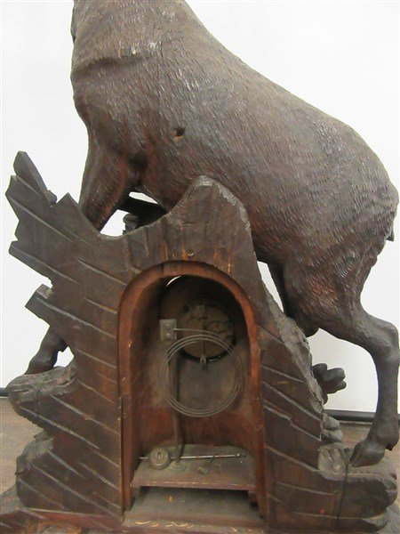 4ft Tall Antique Black Forest Carved Wood Clock - 6