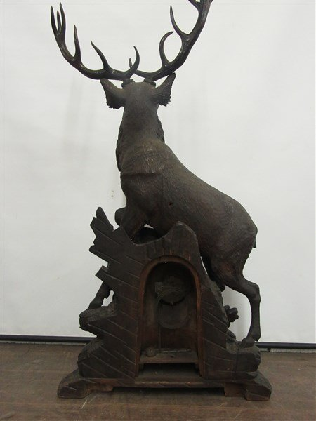 4ft Tall Antique Black Forest Carved Wood Clock - 7