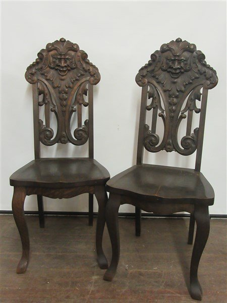 Victorian Heavily Carved Oak Chairs