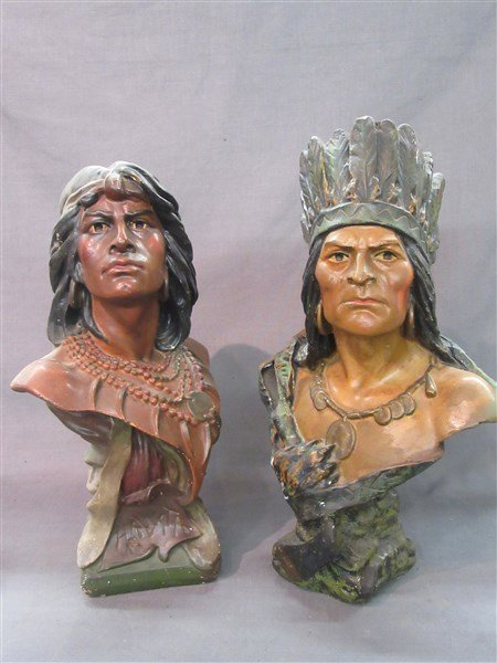 Two (2) Vintage Advertising Plaster Cigar Store Indians