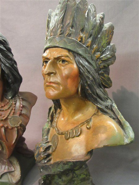 Two (2) Vintage Advertising Plaster Cigar Store Indians - 2