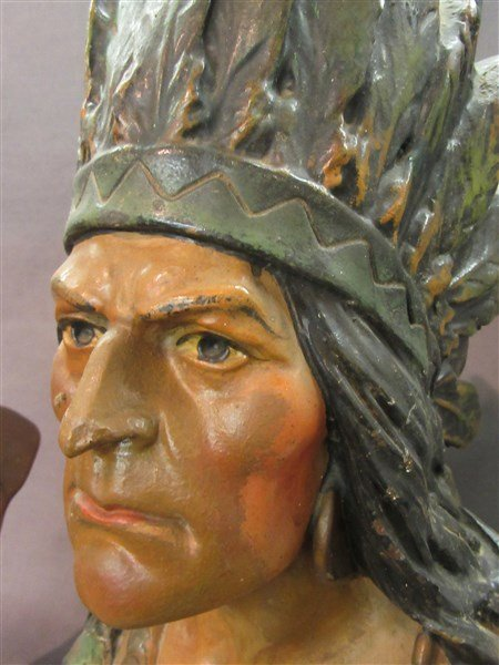 Two (2) Vintage Advertising Plaster Cigar Store Indians - 3
