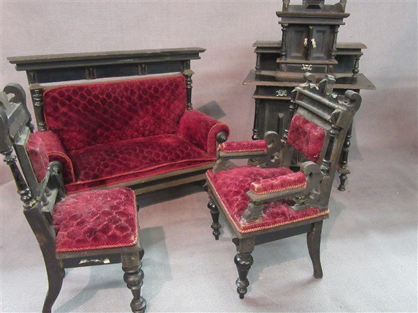 Minature Ebonzied Wood Victorian Parlor Set