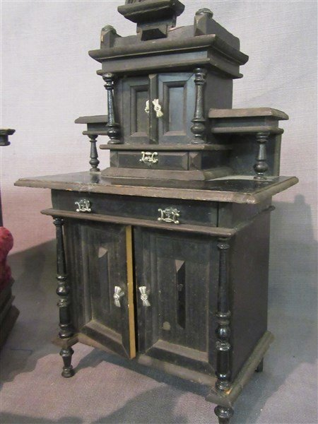 Minature Ebonzied Wood Victorian Parlor Set - 2