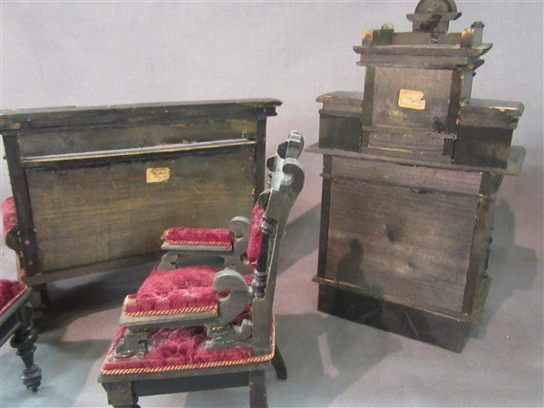 Minature Ebonzied Wood Victorian Parlor Set - 3