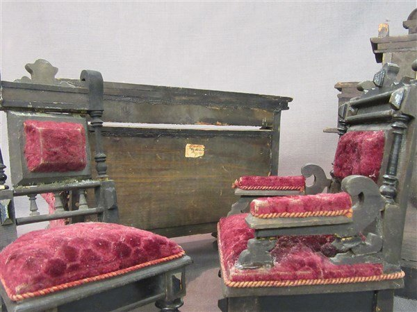 Minature Ebonzied Wood Victorian Parlor Set - 5