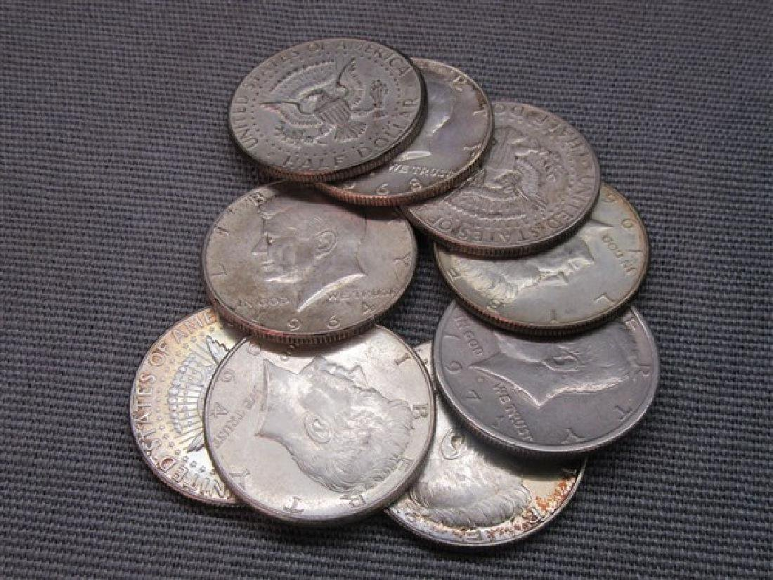 Nine (9) Kennedy Silver Half Dollars