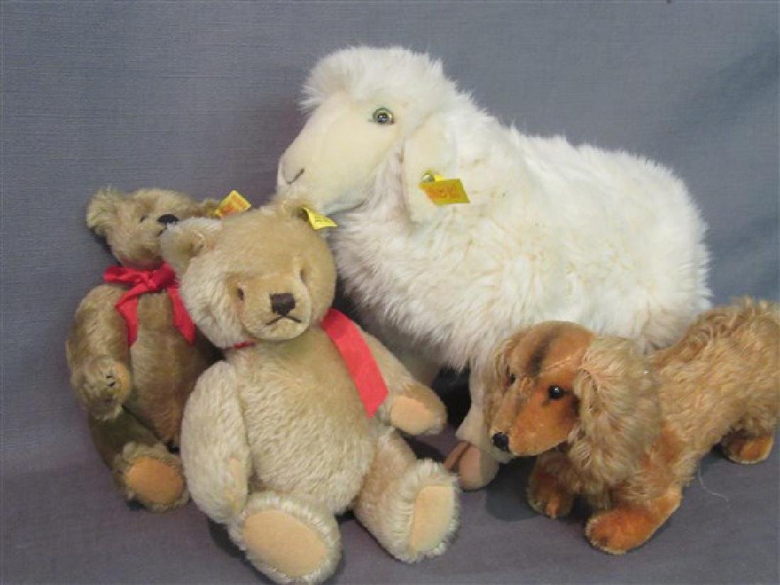 Four (4) Piece Steiff Bears, Sheep And Puppy Dog