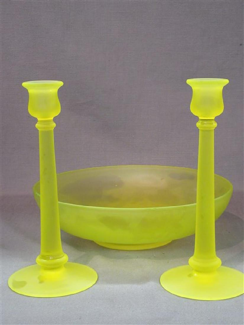 Vaseline Glass Candlesticks And Bowl