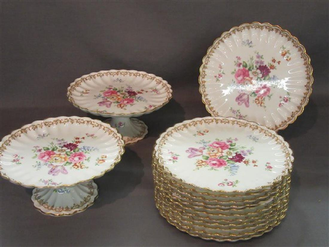 """Staffordshire """"Bouquet"""" Porcelain Dessert Service"""
