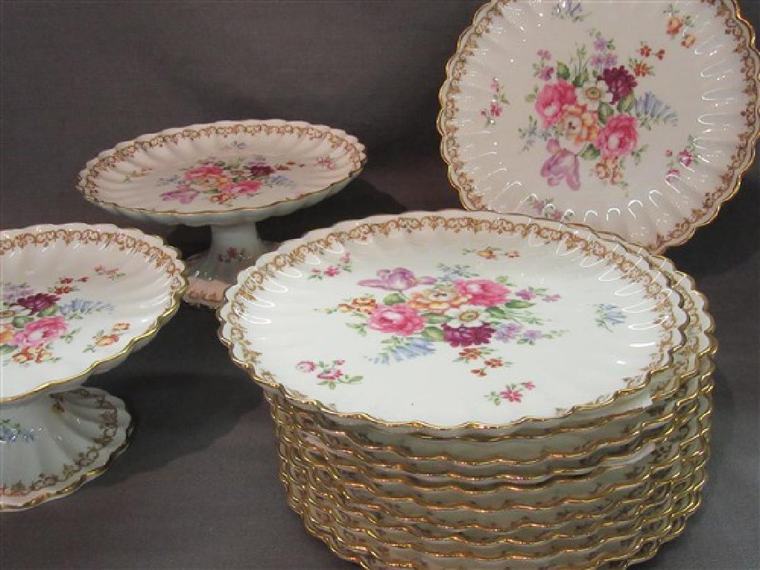 """Staffordshire """"Bouquet"""" Porcelain Dessert Service - 3"""