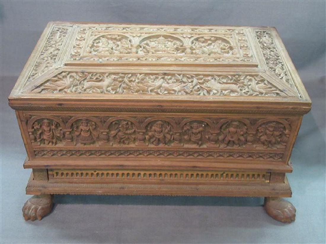 Anglo- Indian Carved Candlewood Footed  Box
