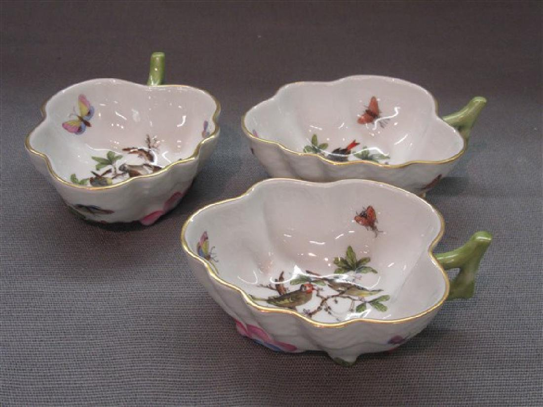 Three (3) Herend Hungary Porcelain Leaf Dishes