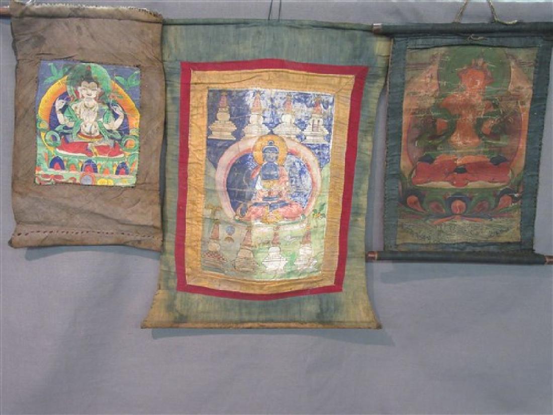 Three (3) Tibetan Monk Thangka Scrolls