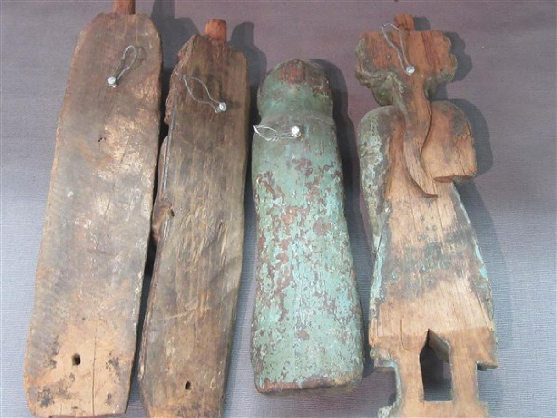Four (4) Indian Carved Wood Architectural  Figures - 5