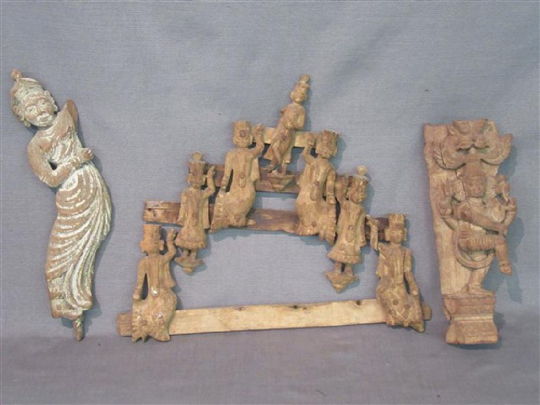 Three (3)  Indian Carved Wood Architectural  Figures
