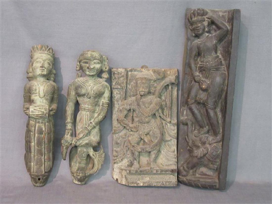 Four (4) Indian Carved Wood Architectural  Figures