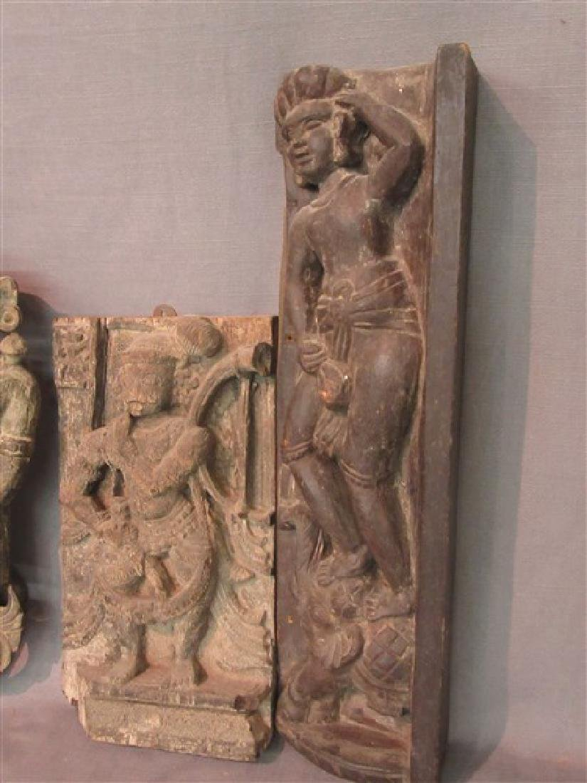 Four (4) Indian Carved Wood Architectural  Figures - 3