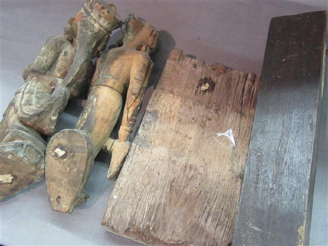 Four (4) Indian Carved Wood Architectural  Figures - 4