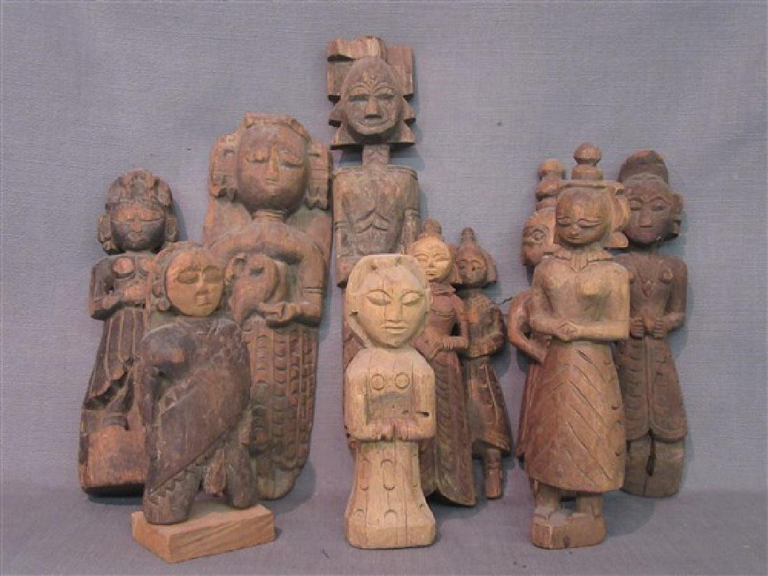 Ten (10) Indian Provincial Carved Wood Figures