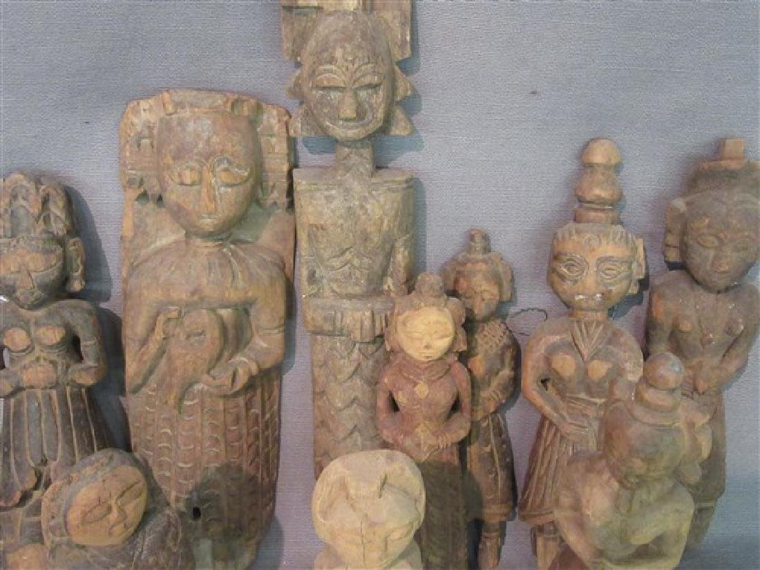 Ten (10) Indian Provincial Carved Wood Figures - 2