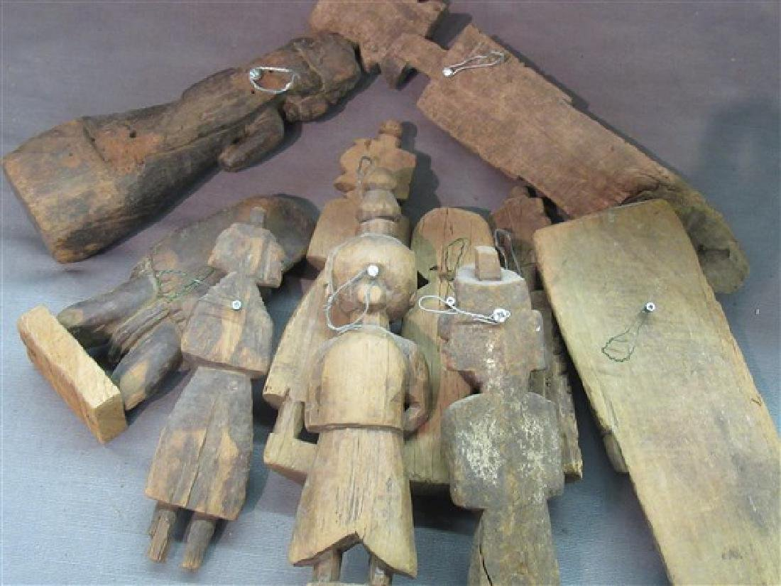 Ten (10) Indian Provincial Carved Wood Figures - 4