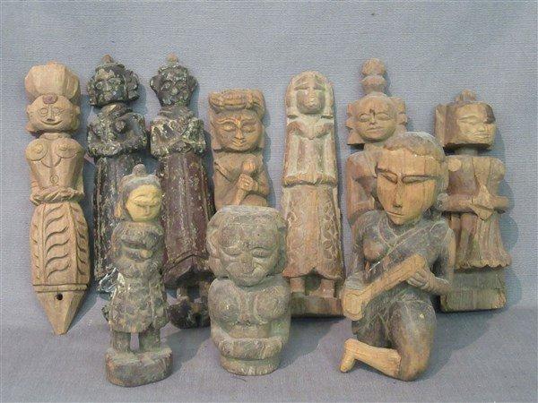 Ten (10) Indian Provincial Carved Wood Figures