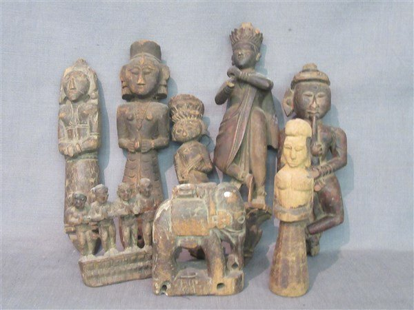 Eight (8) Indian Provincial Carved Wood Figures