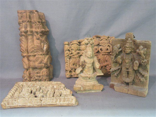 Six (6)  Indian Wood Architectural  Hindu Carvings