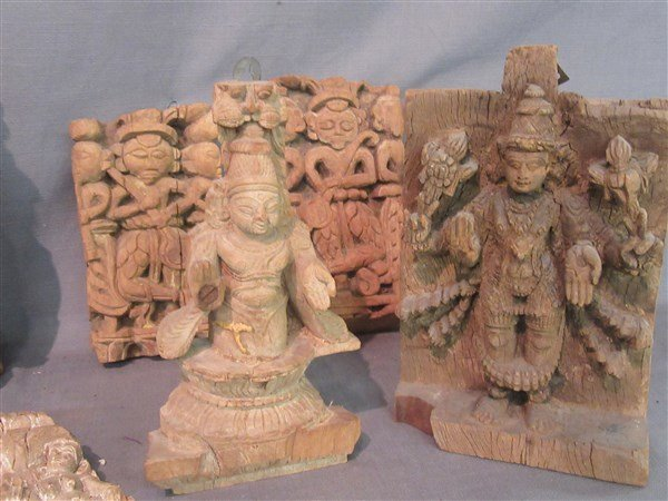 Six (6)  Indian Wood Architectural  Hindu Carvings - 2