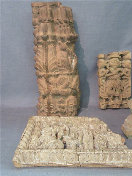 Six (6)  Indian Wood Architectural  Hindu Carvings - 3
