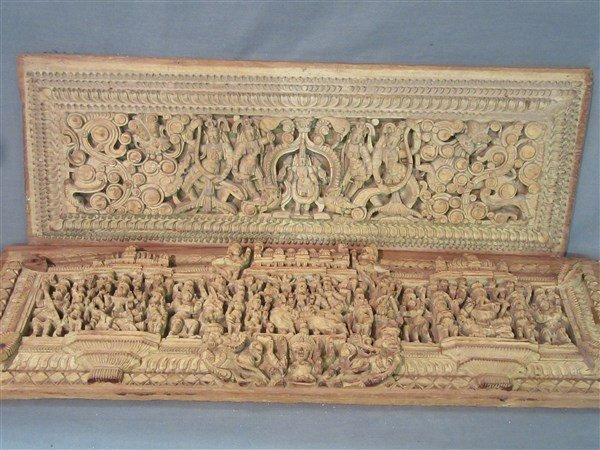 Two (2) Indian Heavily Carved Wood Chariot Panels