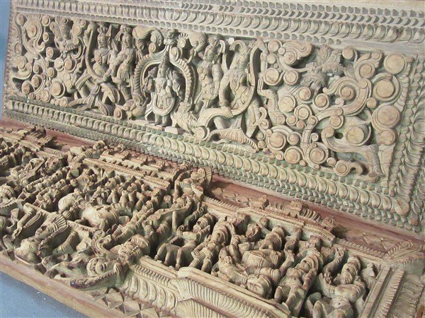 Two (2) Indian Heavily Carved Wood Chariot Panels - 2
