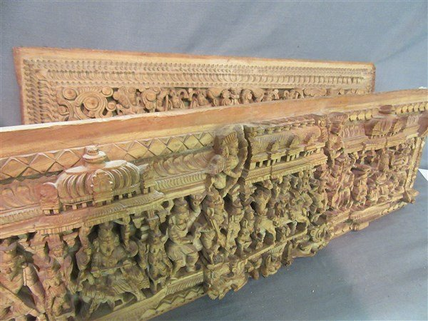 Two (2) Indian Heavily Carved Wood Chariot Panels - 3