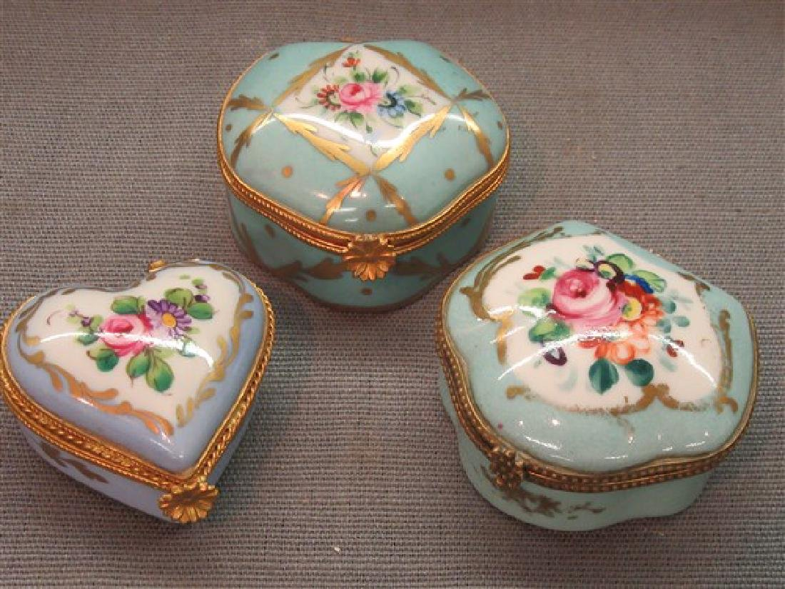 Three (3) Limoges Porcelain  Trinket Boxes