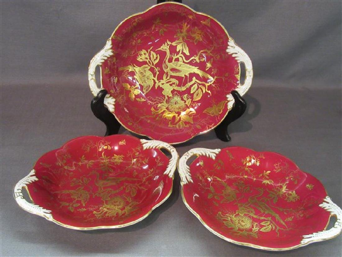 Coalport English Dessert Dishes, Red And Gold