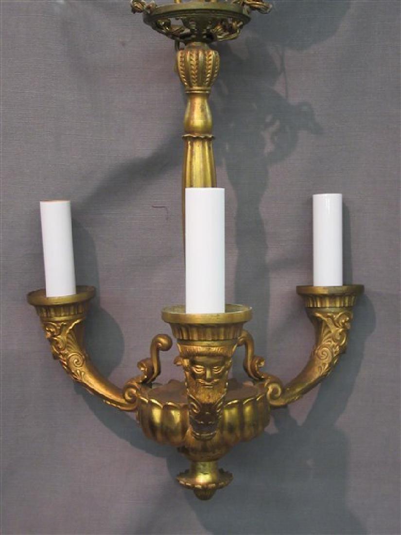 French Gilt Bronze Three (3) Arm Chandelier
