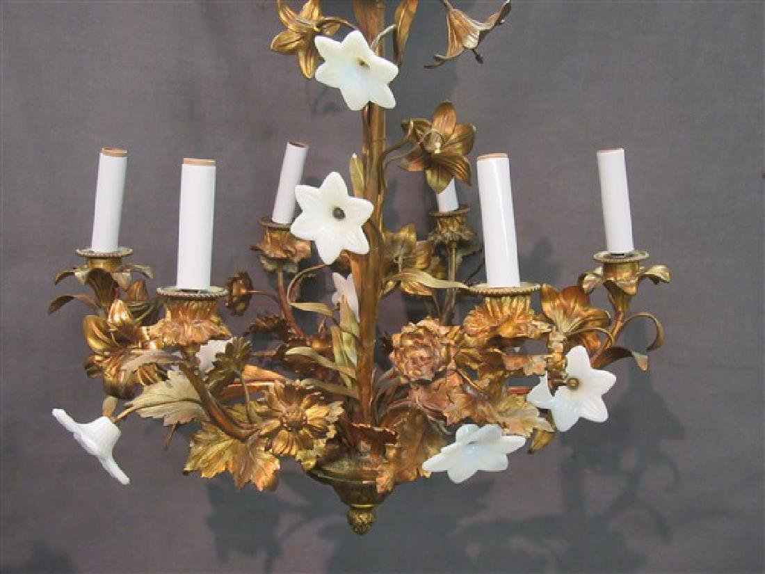 French Gilt Bronze Six (6) Arm Chandelier